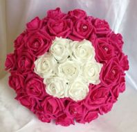 ARTIFICIAL FLOWERS HOT PINK / WHITE FOAM ROSE BRIDE DIAMANTE WEDDING BOUQUET